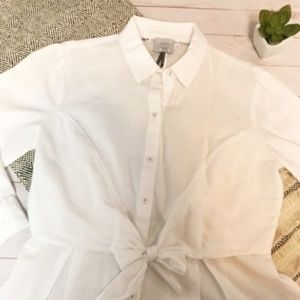 HD In Paris Button Up Tie Front Blouse Size 4